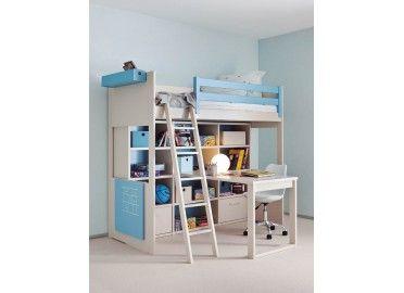 Chambre complete pour enfants ados avec lit mezzanine bureau et