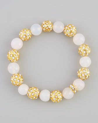 Sada Bead & Crystal Stretch Bracelet, White Agate by Les Amis at Neiman Marcus.