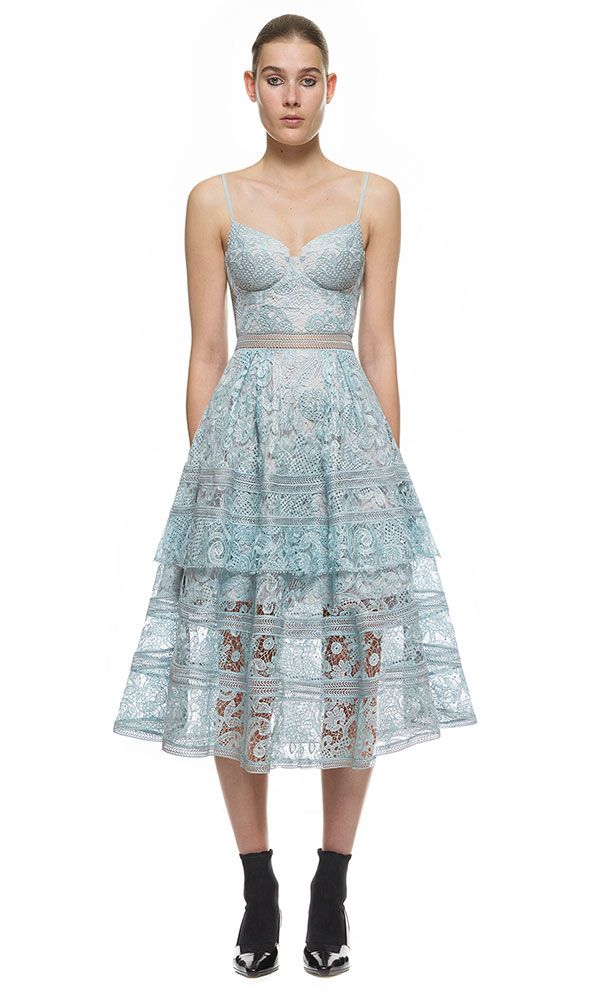 7cff6720a200 Self Portrait Paisley Midi Dress In Icy Blue  SP12-036B  -  239.00    Designer Self Portrait Dresses Sale Outlet