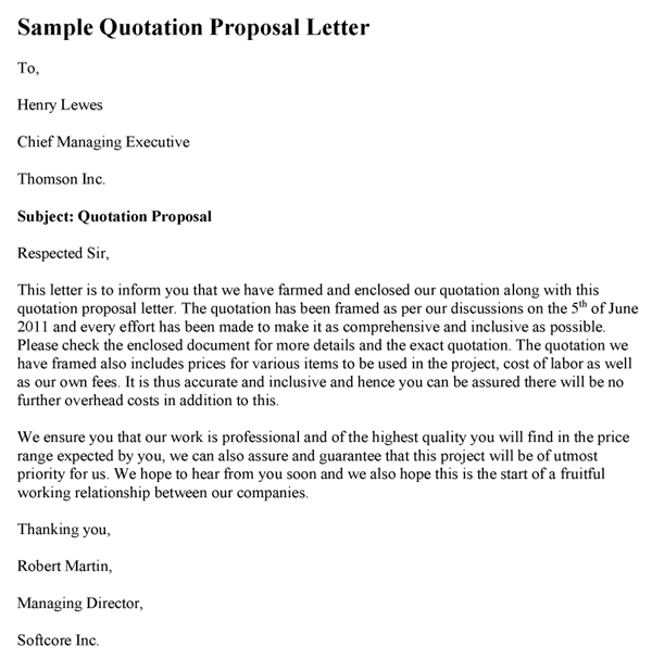 Quotation Submission Letter
