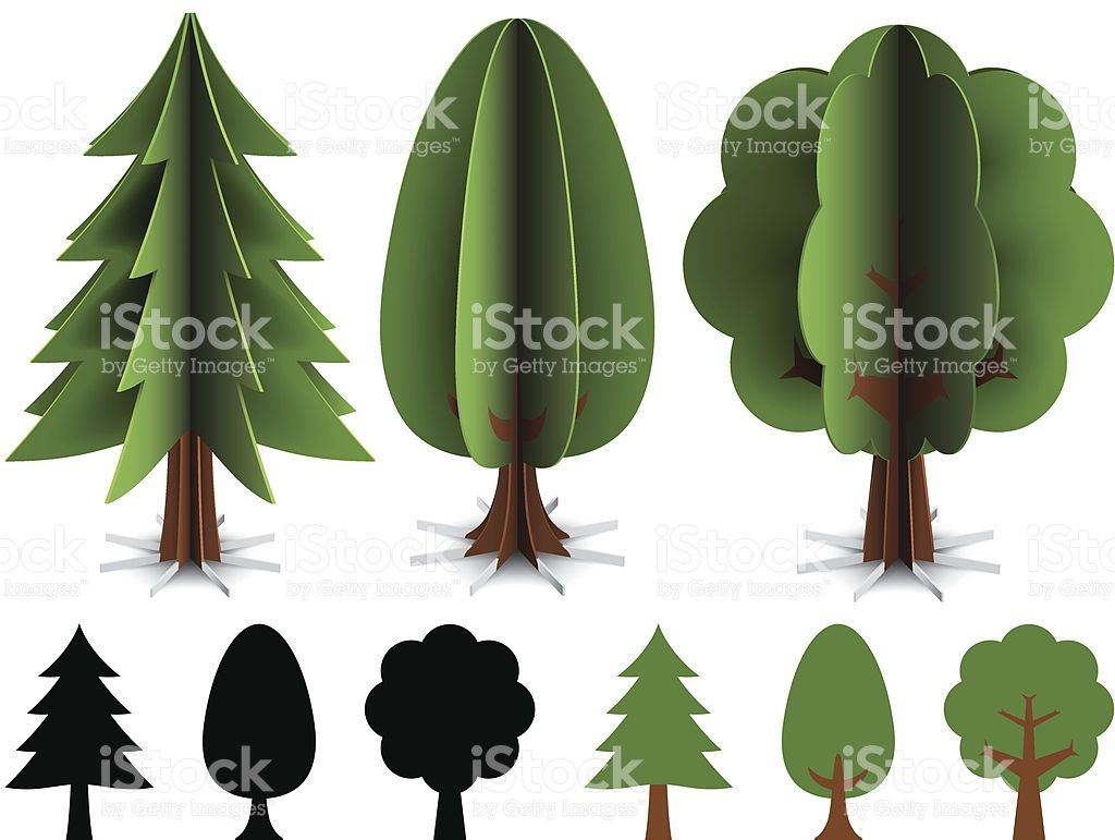 Trees Made Out Of Paper Illustration Contain