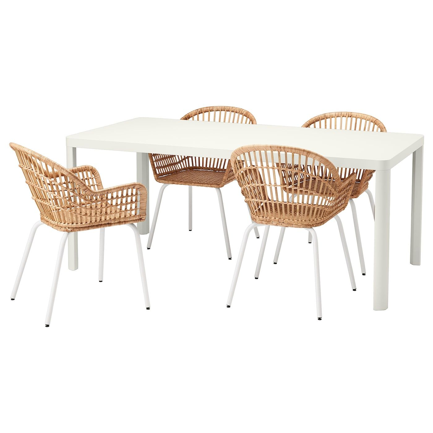 TINGBY NILSOVE Table and 4 chairs, white, rattan white