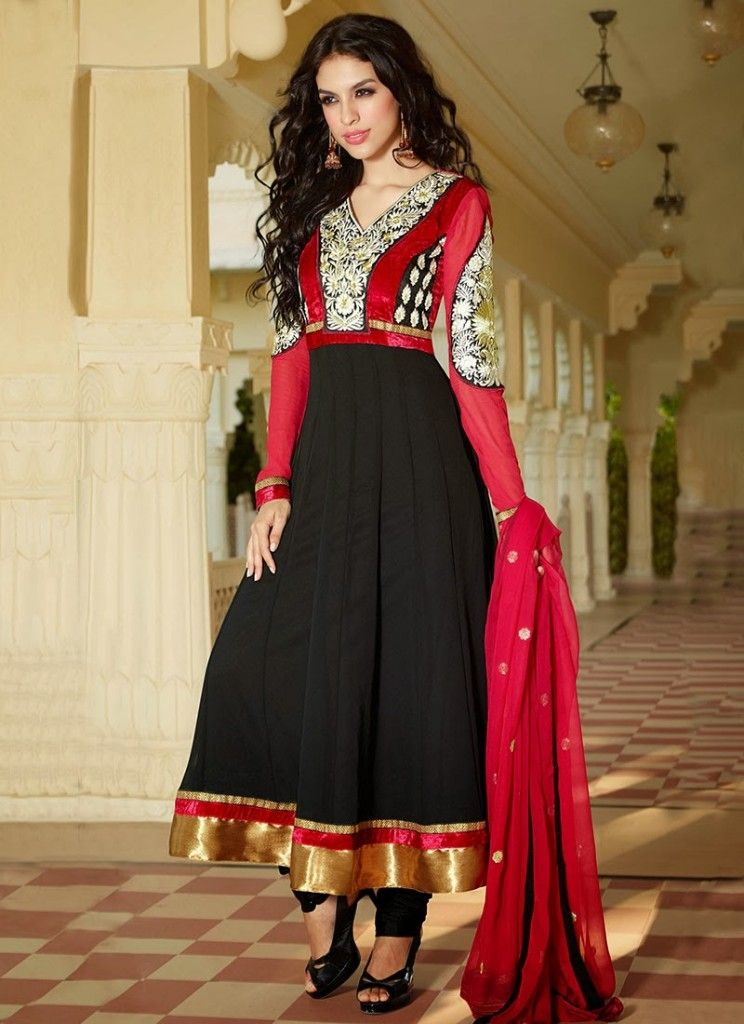 15203c1610 New Indian Fashion Long Shirt Anarkali Dresses for Girls 2014-2015 Fancy  Embroidered Collection (27)