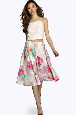 Laura Oversize Floral Full Midi Skirt at boohoo.com