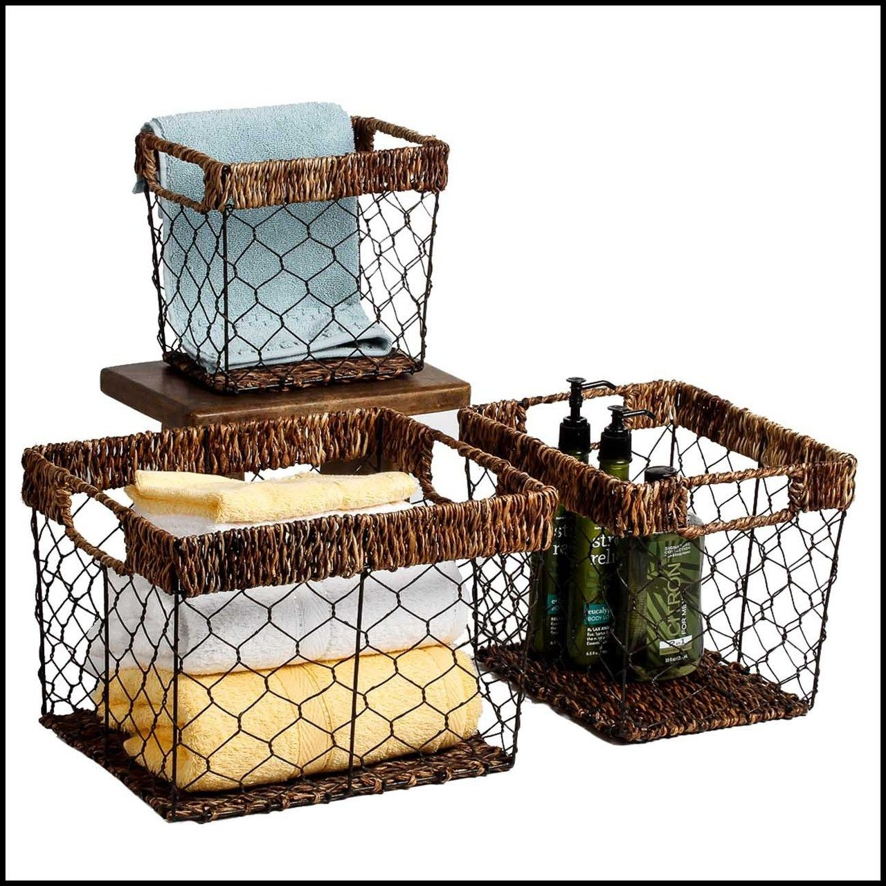 Abaca With Wire, 3 Piece Storage Basket Set