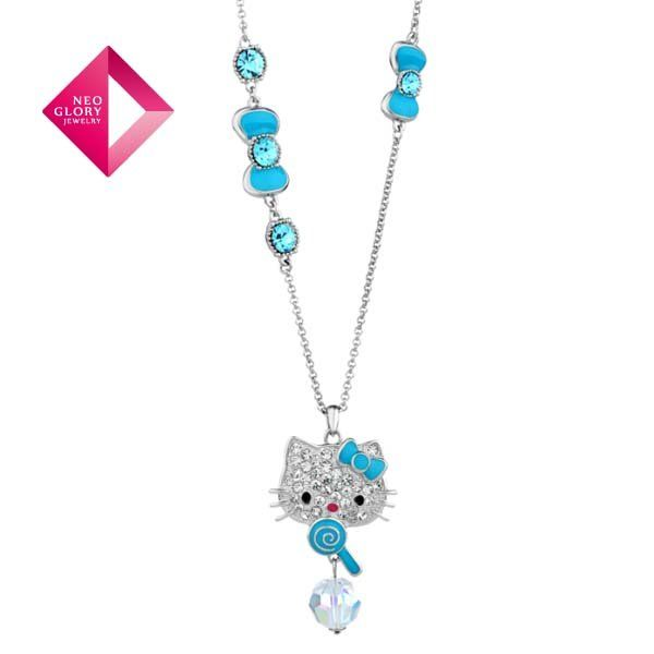 Aliexpress.com : Buy Free Shipping (No Min Order) Neoglory MADE WITH SWAROVSKI ELEMENTS Crystal Necklace Rhinestone Hello Kitty New Year Gift from Reliable Necklace suppliers on NEOGLORY JEWELRY