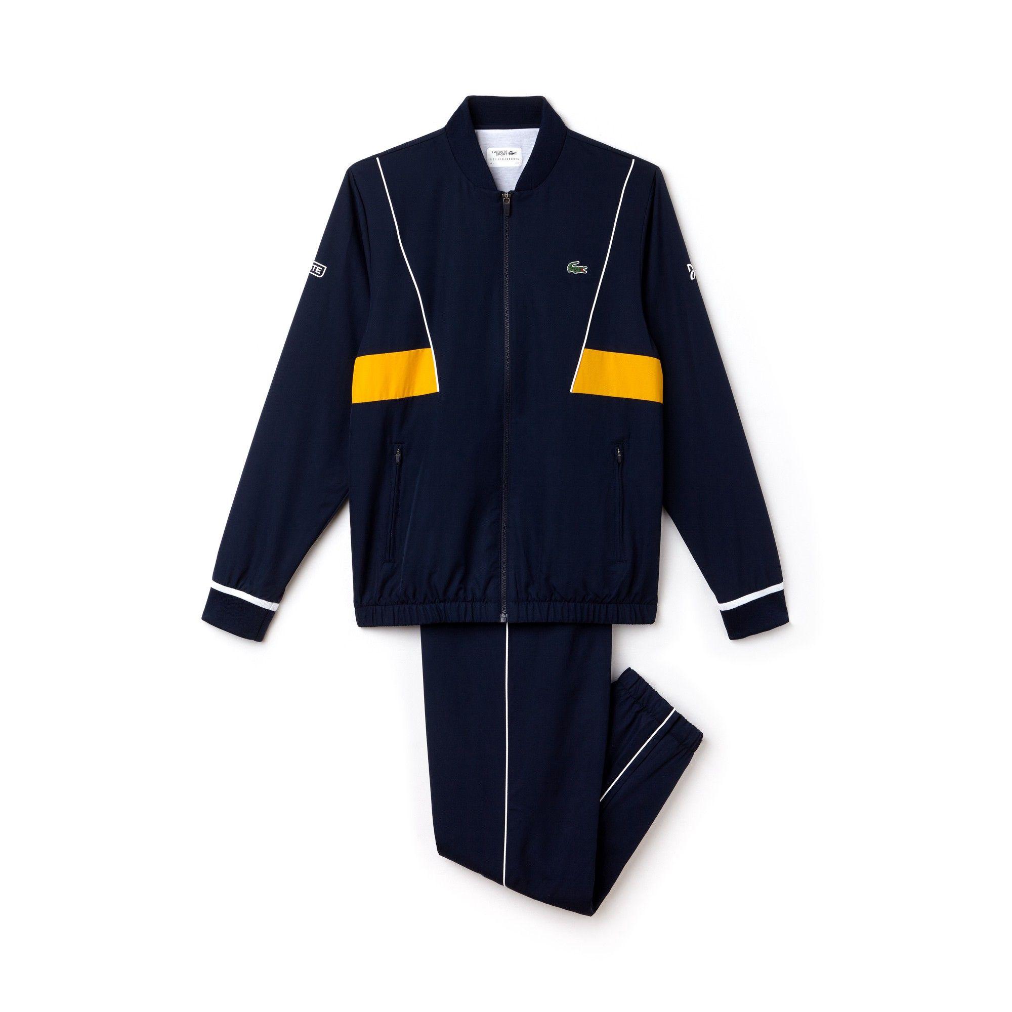 b627197c8 Lacoste Men s Sport Taffeta Tracksuit - Novak Djokovic Collection Navy  Blue White-Buttercup 3XL