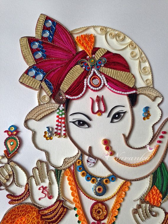 Made to order handmade paper quilling ganesha by for Big quilling designs