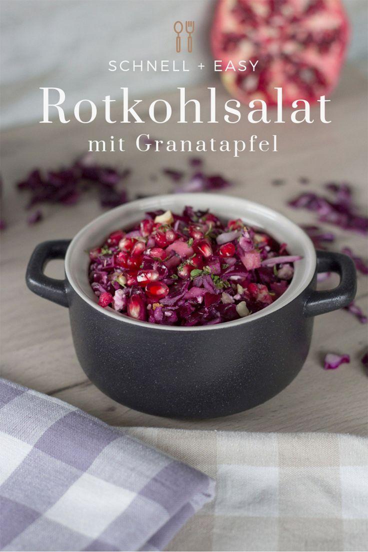 Winterlicher Rotkohlsalat mit Granatapfel
