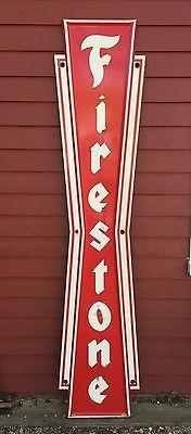 Vintage Firestone Tires Gas Station Garage Dealer Metal Vertical Bow Tie Sign Vintage Gas
