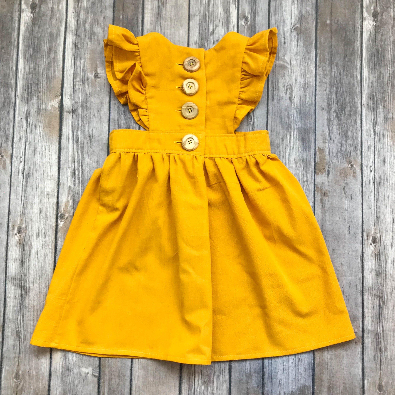 006895e65274 Mustard Yellow Pinafore Dress - Yellow Pinafore - Toddler Pinafore ...