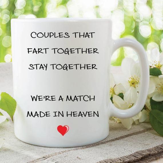 Fart Mug Funny Novelty Gift Mug Girlfriend Gift Boyfriend Present Couples That Fart Together Stay Together Valentines Christmas MYSMUG372