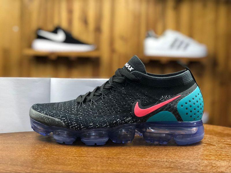 c7a4667b9de94 2018 Nike Air Vapormax Flyknit 2.0 Mens Sport Shoes Black Jade Red 942842 -003