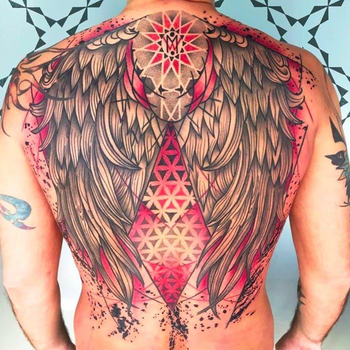 Pattern wing tattoo by Abel Miranda via Facebook #AbelMiranda #patternwork #wings #dotwork #mandala #abstract #trash