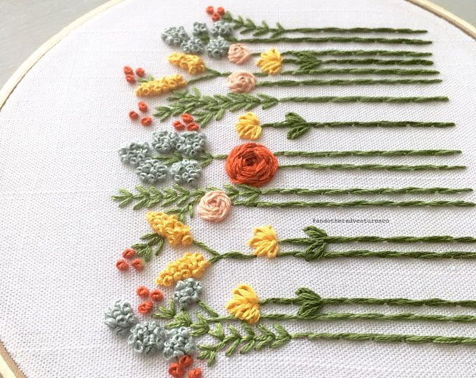 DIY Embroidery KIT – Beginner Hand Embroidery Kit, Floral Hoop Art, Autumn Wildflowers, Fall Colors, Modern Floral Embroidery Pattern
