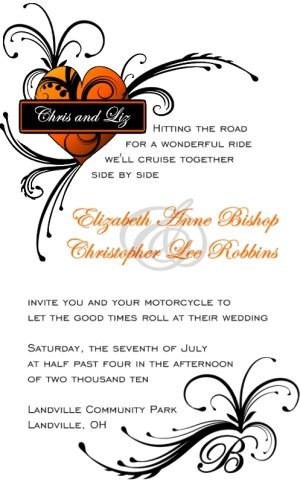 Harley Davidson Wedding Invitations Harley Wedding Invitation