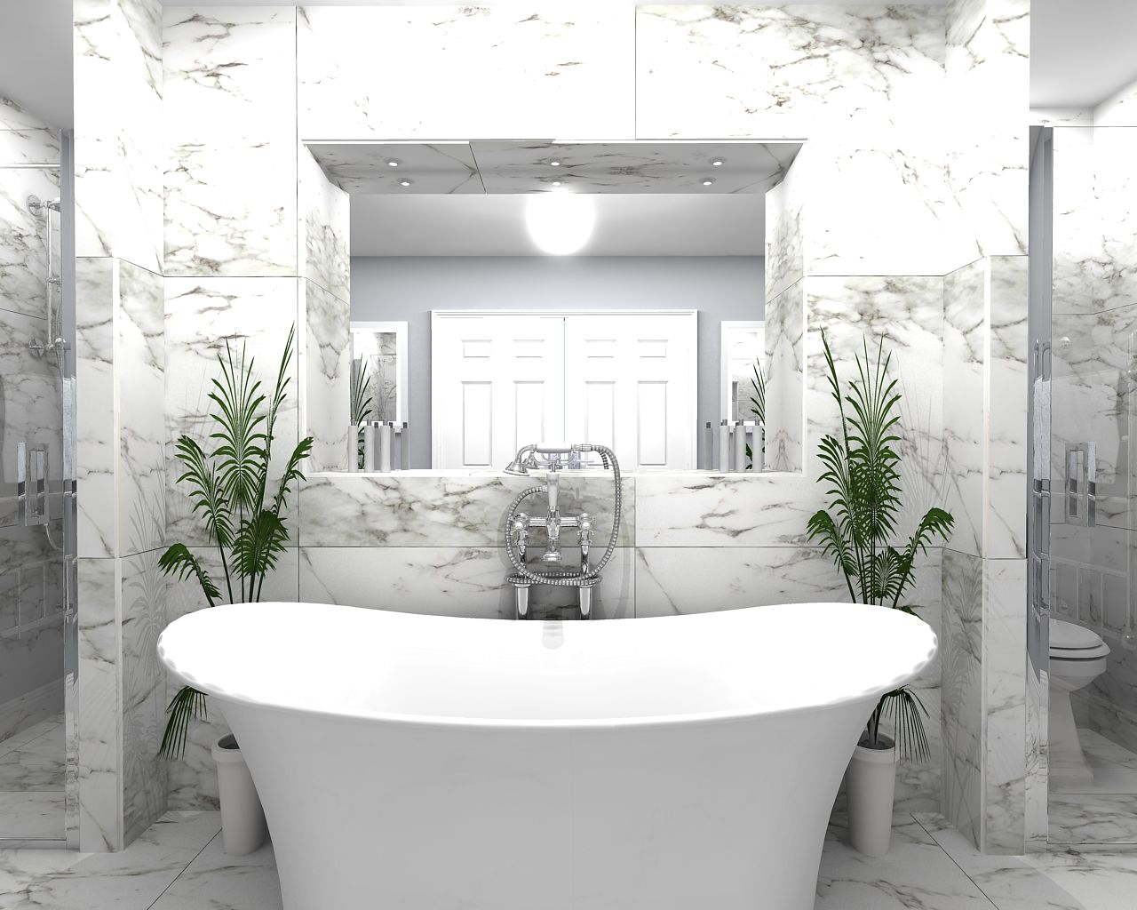 Free-standing Ashton & Bentley bath Porcelanosa wall and floor tiles ...