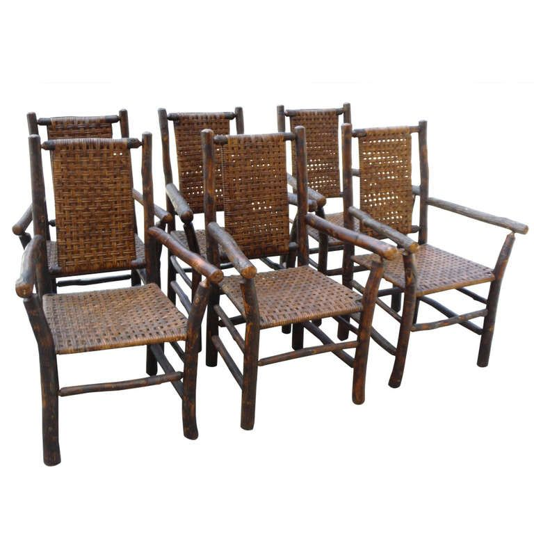 Set Of Six Signed Old Hickory Dining Armchairs  Armchairs Dining Unique Hickory Dining Room Sets Decorating Design