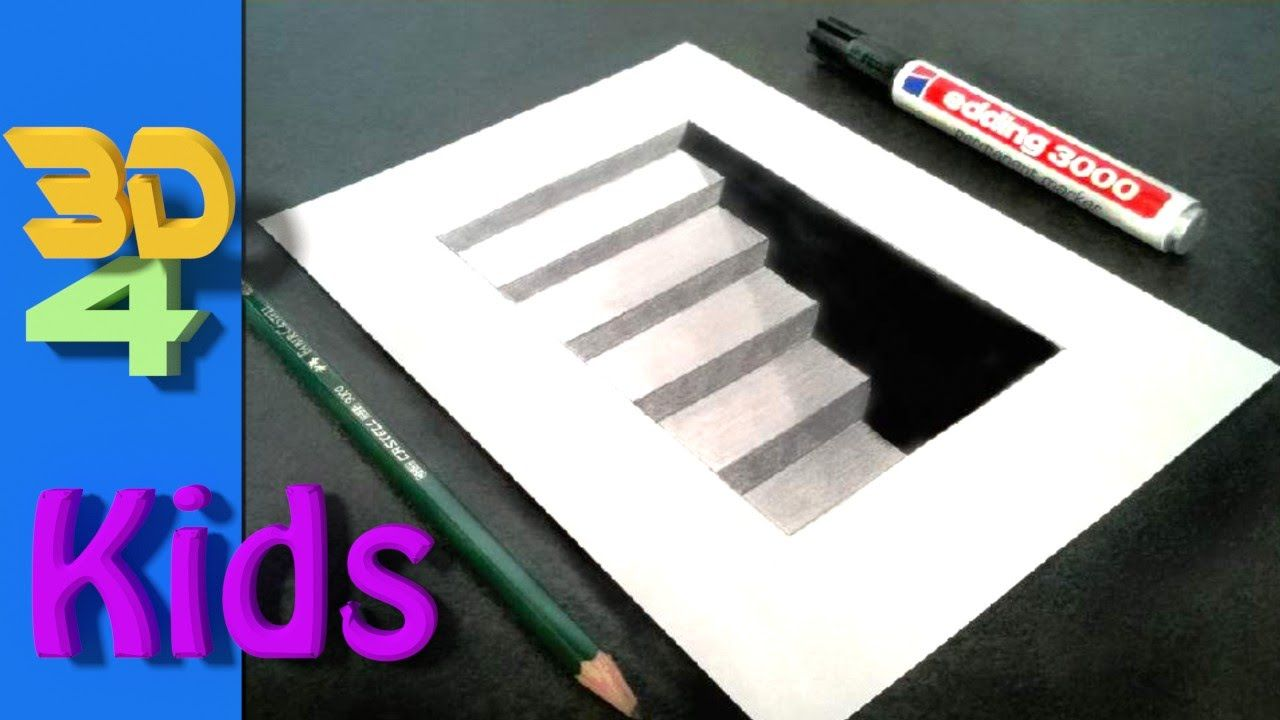 3d Drawing Cellar Stairs Step By Step Very Easy For Kids 3d Drawing Tutorial Illusion Drawings 3d Drawings