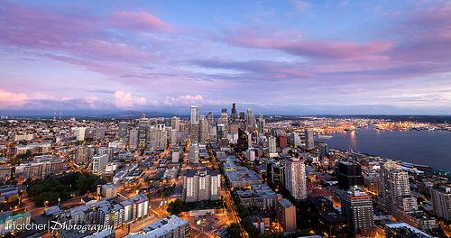 Seattle at Dusk by Thatcher Kelley Photography