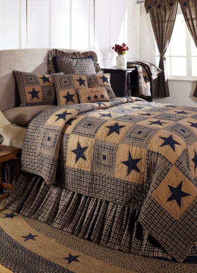 Vintage Star Navy Primitive Quilt Set Bedding From