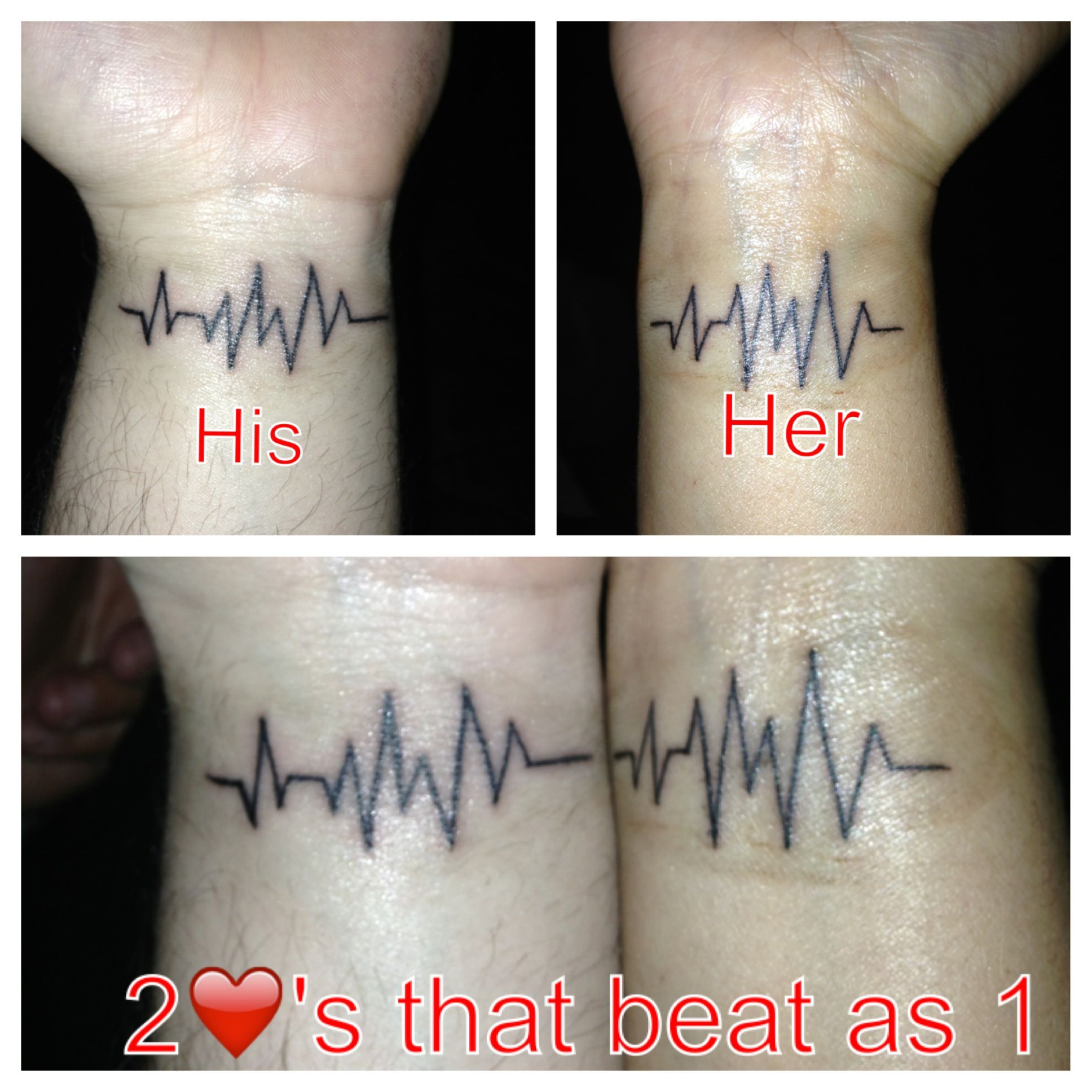 "His & Her matching heart rate tattoos ""2 's that beat as"