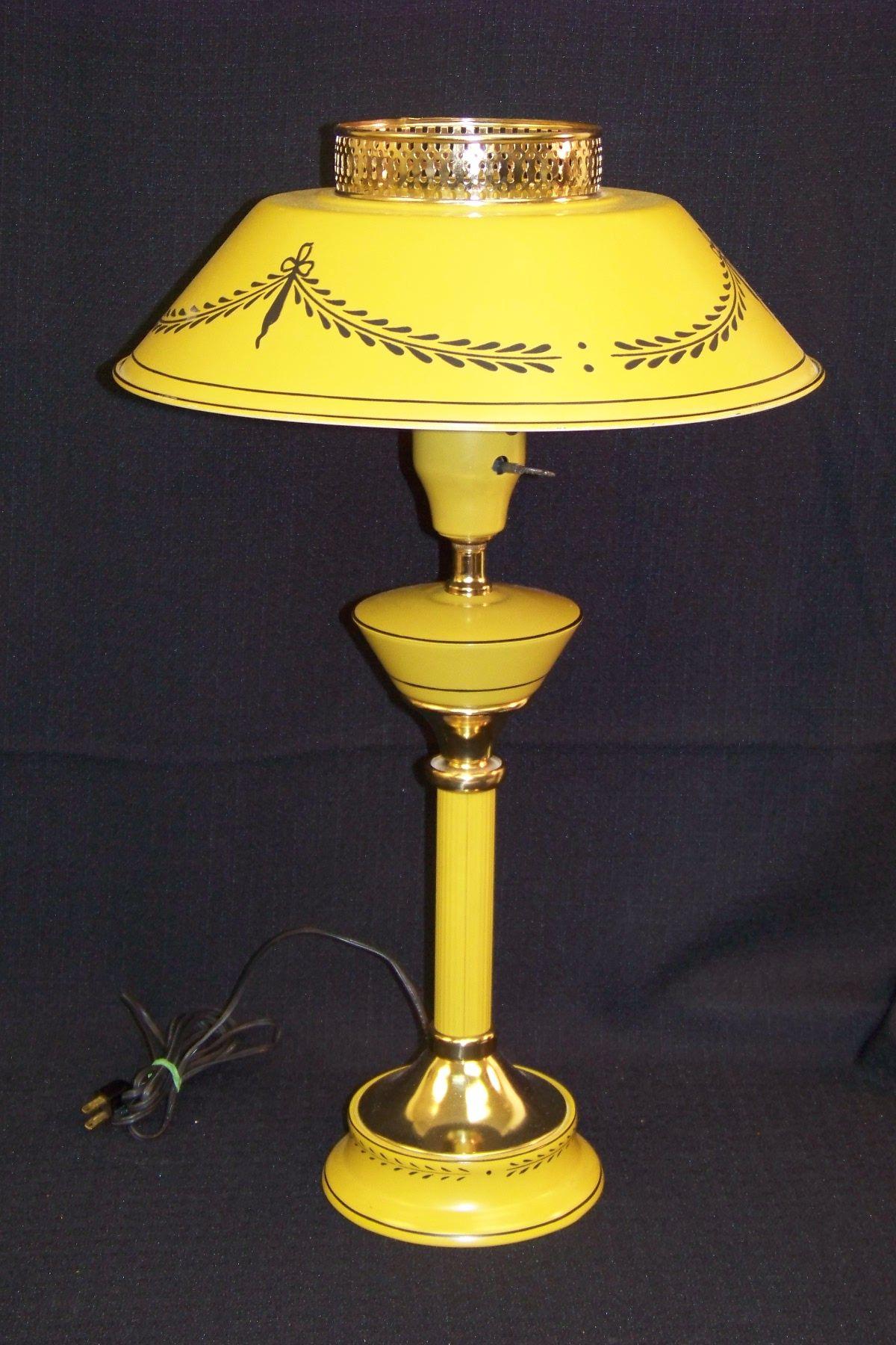 Vintage Yellow Tole Lamp Lamp Vintage Lamps Vintage Yellow