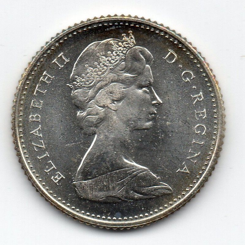 1968 Canadian 10 Cents, Royal Mint, Proof, Toned,  500