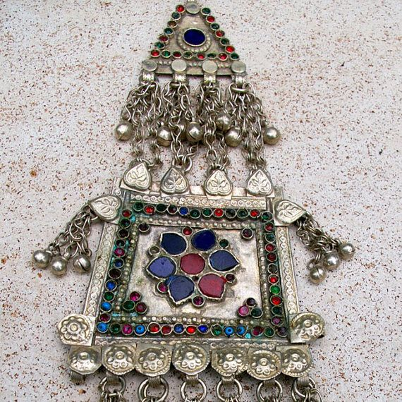 Vintage Kuchi Pendant with Dangles Red Ethnic Triangle Pendant