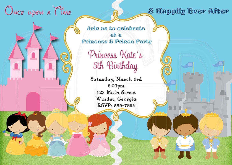 Princess and Prince Invitation -Digital File | Prince party ...