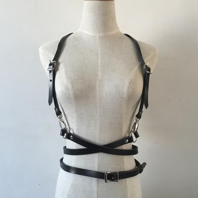 f0ba3a68e48 Dark Rock street strap Leather Harness Body Waist Belt Straps Adjustable  Buckle Belt Garter Belt leather Suspenders