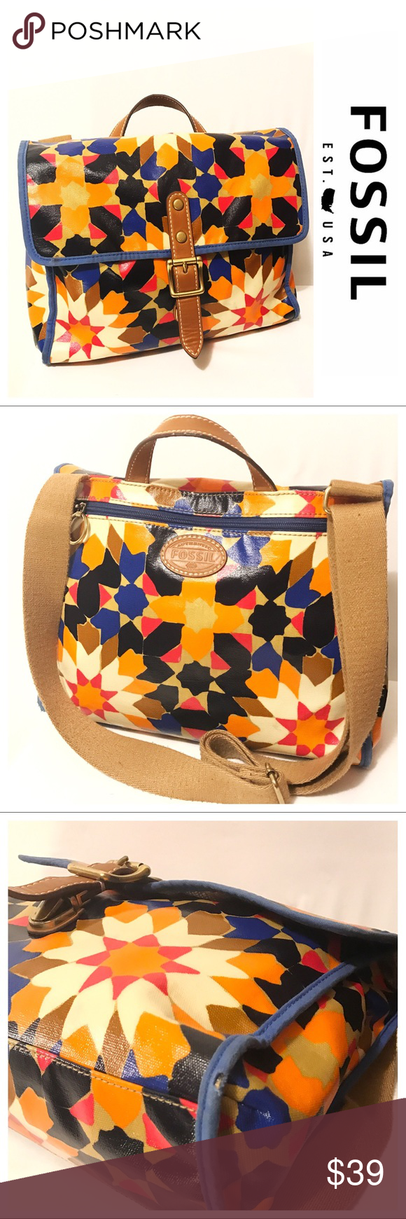 """Fossil Starburst Keyper Messenger Bag Very colorful Fossil Starburst pattern keyper messenger bag.  Orange, black, red, blue and tans make up this awesome vinyl coated  bag.  Blue cloth trim and leather strap with brass hardware and clip lock.  Canvas shoulder strap measures 12-24"""" Fossil Bags Crossbody Bags"""