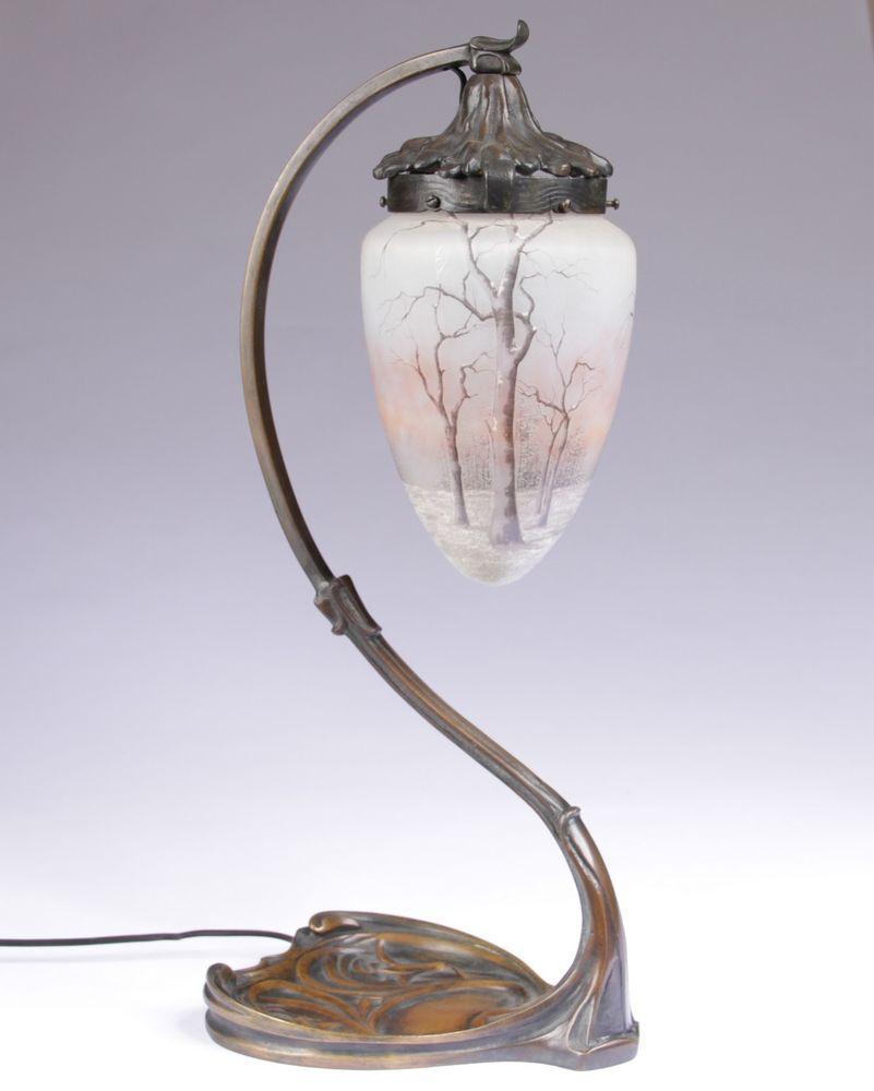 lampe art nouveau bronze tulipe daum