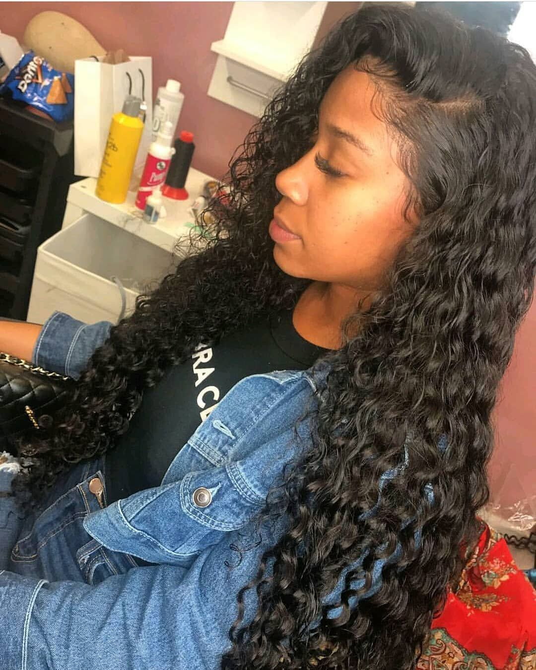 lace closure with bundles deep wave peruvian weave sew ins