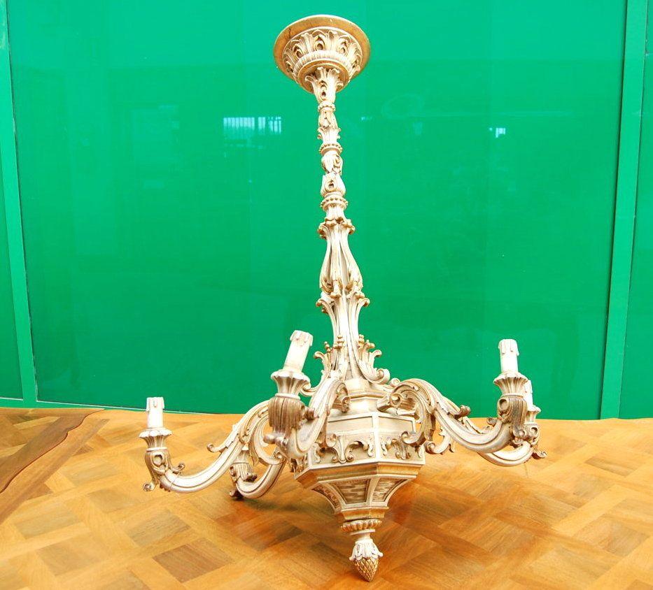 Lampadario in legno inizio '900 a 6 fuochi in stile