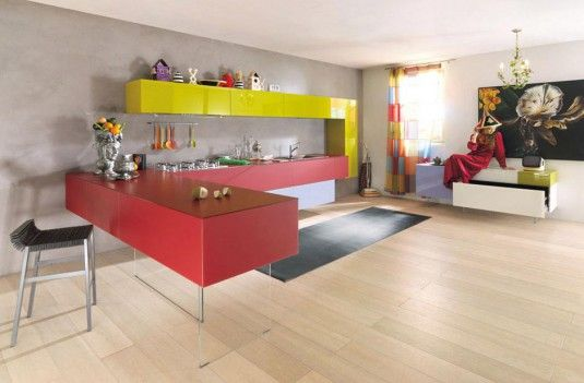 cheerful color for your kitchen cabinets