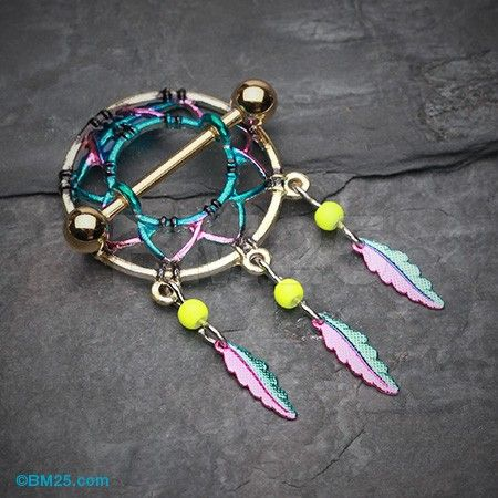"""Sold in Pairs DREAMCATCHER DANGLING FEATHERS NIPPLE SHIELDS BARBELLS 14G 3//4/"""""""