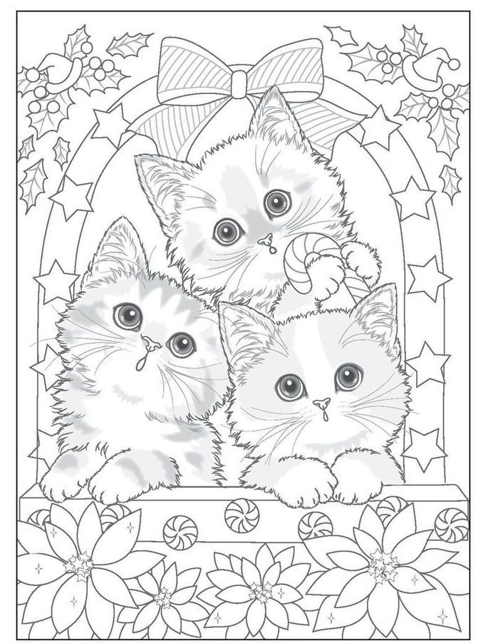 Kitten Lovers Christmas Coloring Pages Animal Coloring Pages Cute Coloring Pages
