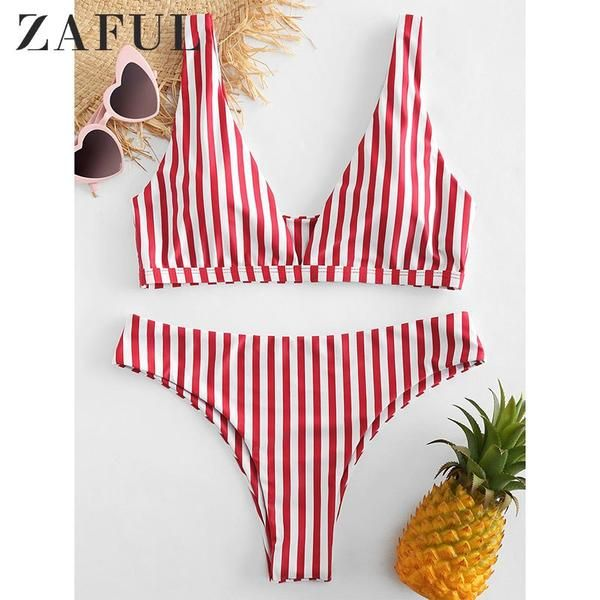 52b5ee82fb89d ZAFUL Swimwear For Women Push Up Bikiny Striped Bikini Sport  Discounts   BestPrice