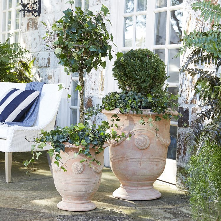 The Perfect Patio Piece Or Poolside Planter This Molded Terracotta Pot Lends A Charming Old World Feel Out Of Do In 2020 Anduze Pot Terracotta Planter Formal Gardens