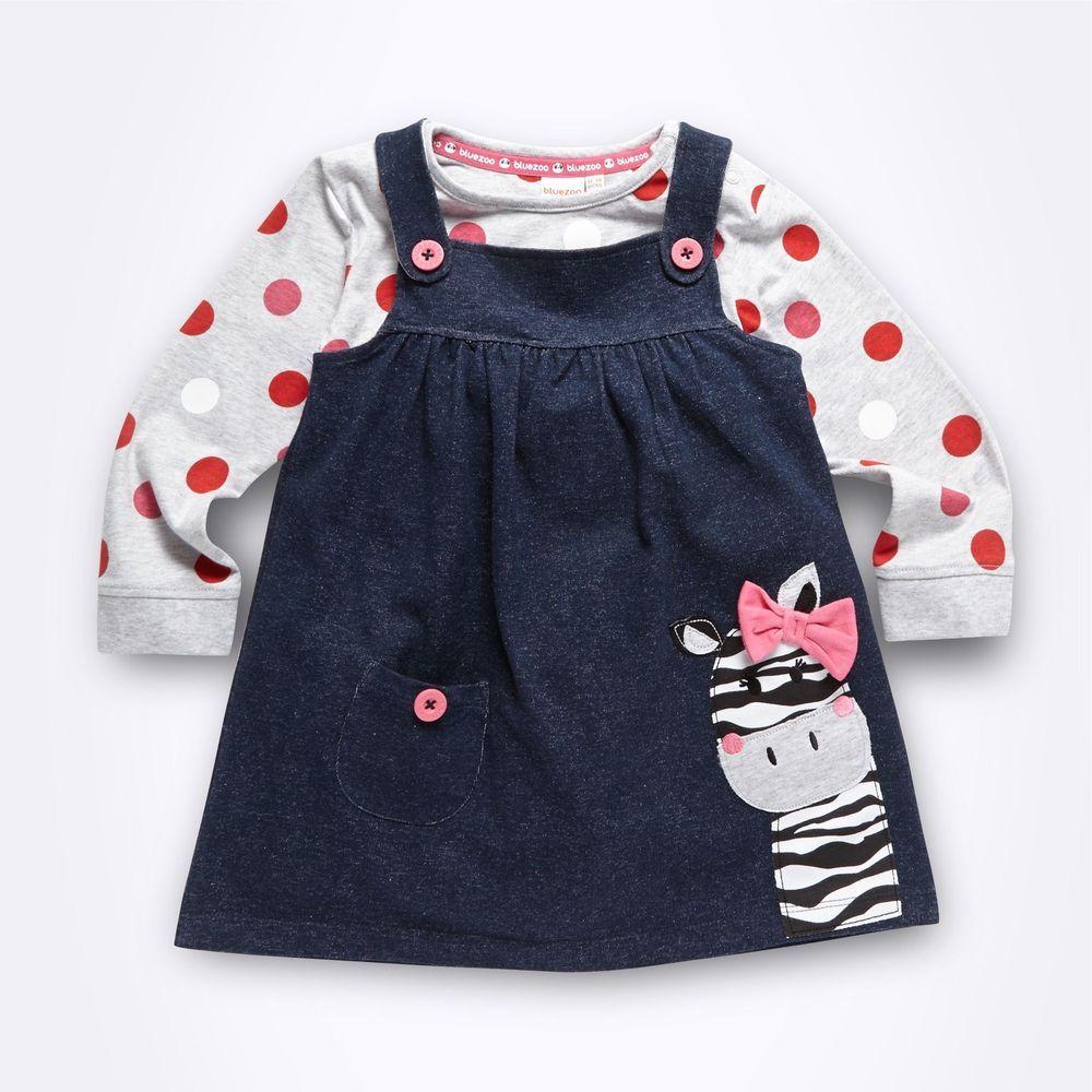 Debenhams Kids 2 Pack Navy Gingham Dress