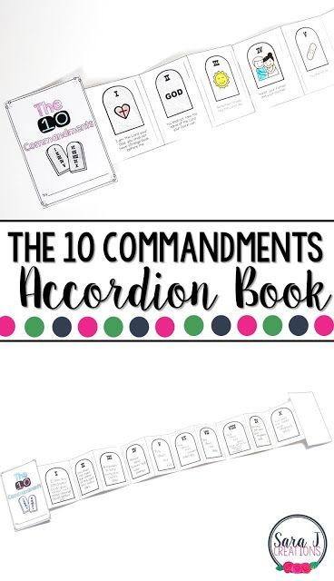 Catholic Mini Accordion Books is part of Kids Crafts Bible Ten Commandments - Catholic mini book bundle is the perfect printable activity for kids to teach them about the Catholic faith, the Bible, Jesus and more!