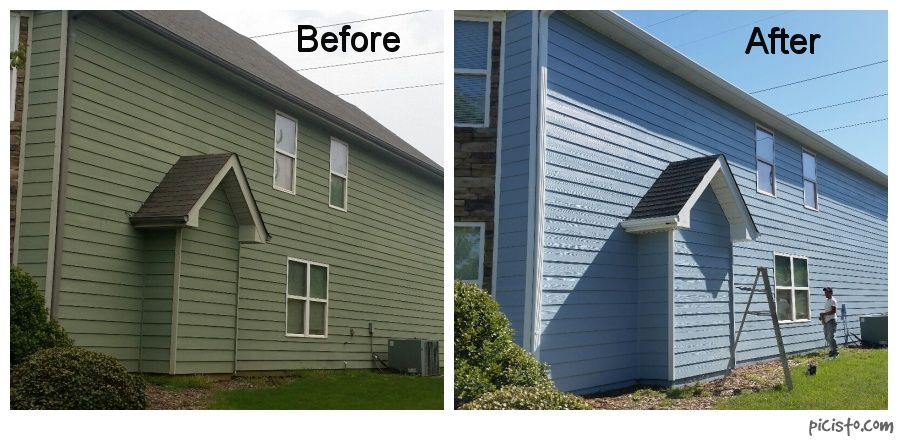 Exterior House Painting In Hoschton Body Is Sw7601 Dockside Blue And Trim Is Sw6413 Restoration Ivory House Paint Exterior House Painting House Exterior