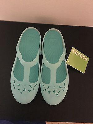 c0dcc711192d08 Crocs Women s Crocs Carlie Flower Mary Jane Shoes Sea Foam  Island Green  Size 8 -