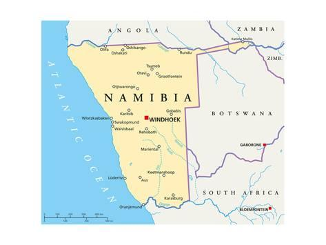 Art Print Namibia Political Map By Peter Hermes Furian 24x18in