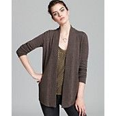 Aqua Cashmere Sweater - Open Rib Trim Cardigan