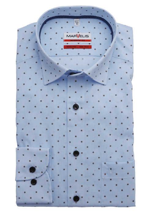Marvelis Modern Fit Hemd Extra Langer Arm Muster Blau In 2020 Hemd Button Down Kragen Langarm