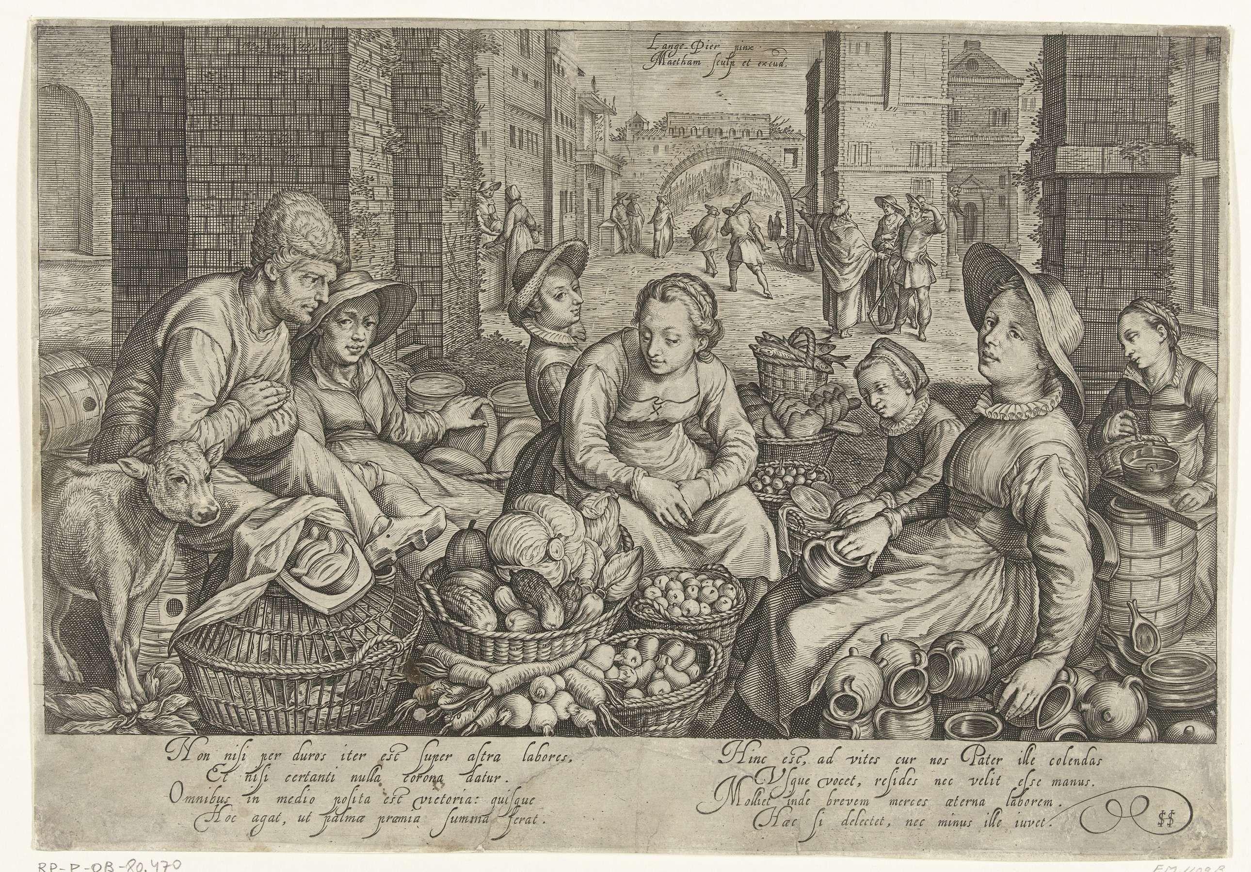 Jacob Matham | Marktscène met in de achtergrond de parabel van de arbeiders in de wijngaard, ca. 1600, Jacob Matham, 1603 | Marktscène met marktvrouwen en verkopers van groenten, kaas, gevogelte, brood, boter en aardewerk, links een kalfje. Scène in een stad. Op de achtergrond de parabel van de arbeiders in de wijngaard. Met onderschrift van 2 verzen van elk 4 regels in het Latijn.