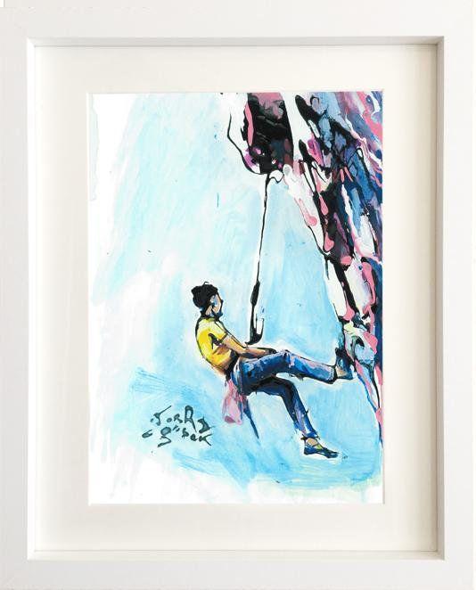 Mountain Climbing Print Rock Climbing Painting Climbing Art Etsy Climbing Art Painting Sports Wall Art