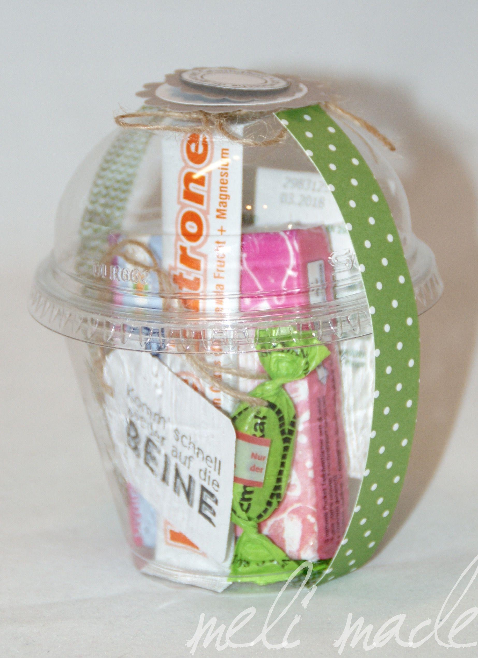 clear cup gute besserung notfallbox geschenk im becher pinterest geschenke gute. Black Bedroom Furniture Sets. Home Design Ideas